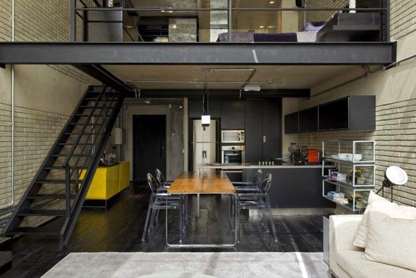 Квартира мужчины-холостяка в стиле индастриал-лофт