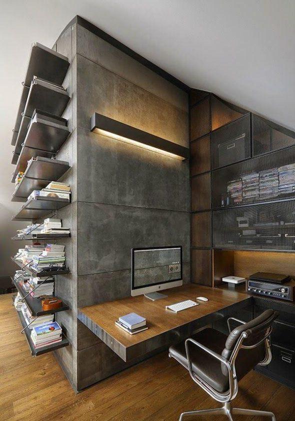 Рабочее место в квартире в стиле индастриал