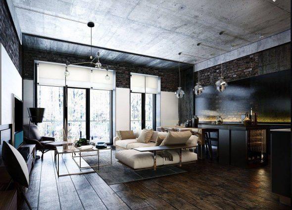 Стиль индастриал-лофт в интерьере квартиры-студии