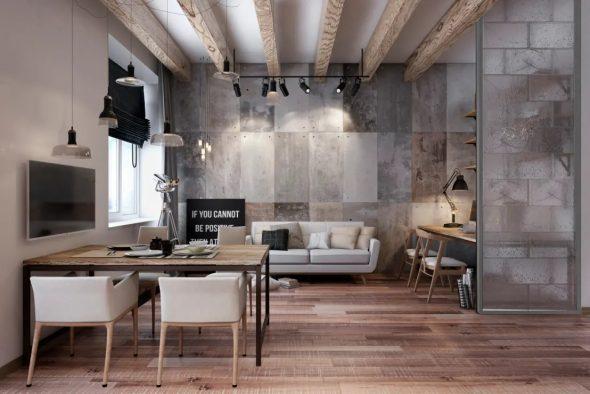 Дизайн маленькой квартиры в стиле индастриал-лофт