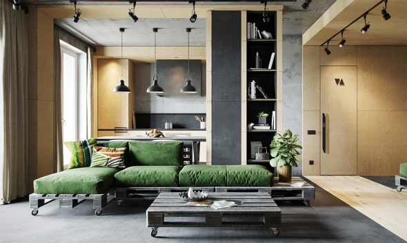 Зелёный диван в интерьере индастриал-лофт