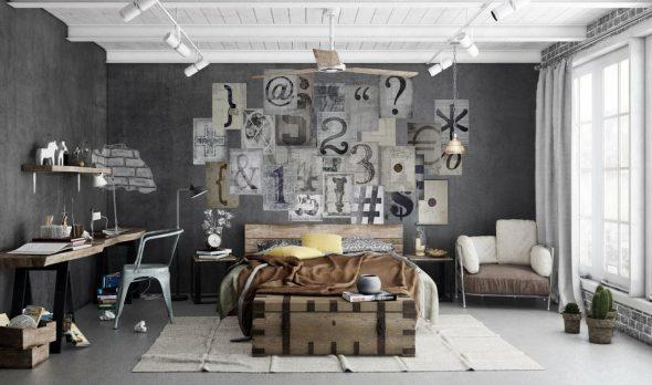 Индустриальный стиль в интерьере спальни