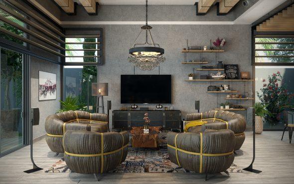Интерьер в индустриальном стиле в гостиной