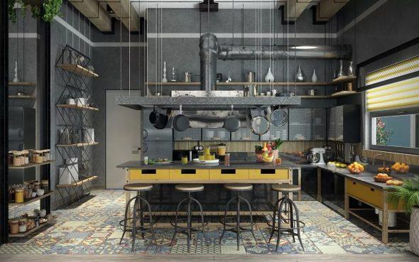 Кухни в стиле индустриальный лофт