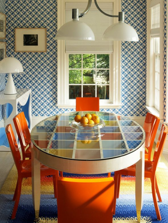 Интерьер столовой в стиле ретро 70-х