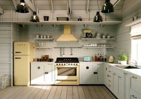 Современная кухонная техника в интерьере кухни 60-х