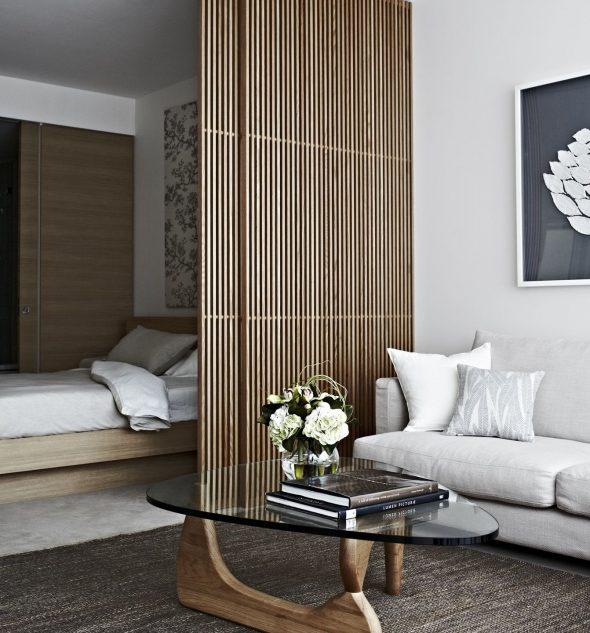 Декоративная перегородка из деревянных реек