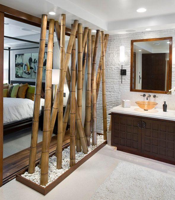 Декоративная перегородка из бамбука