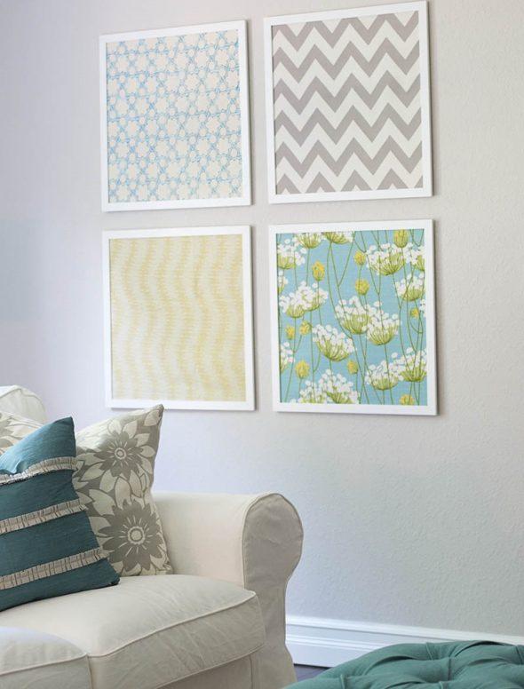 Картины из обоев на стене