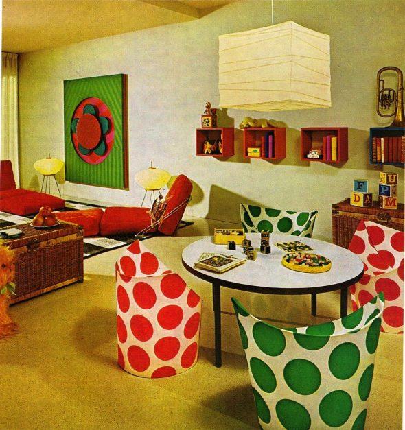 Интерьер комнаты в стиле 60-х годов