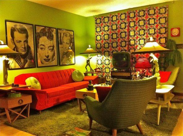 Гостиная в стиле 70-х