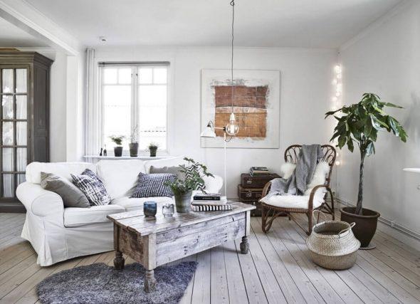 Уютная гостиная в стиле сканди