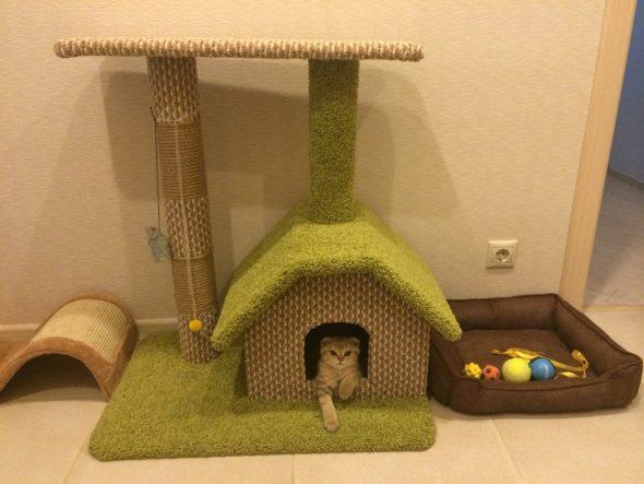 домик для кошки из джута