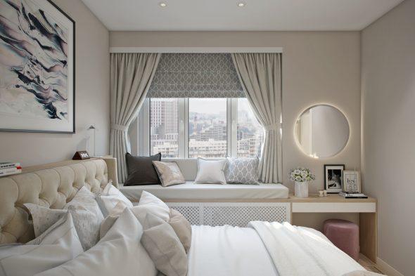 подоконник в интерьере спальни