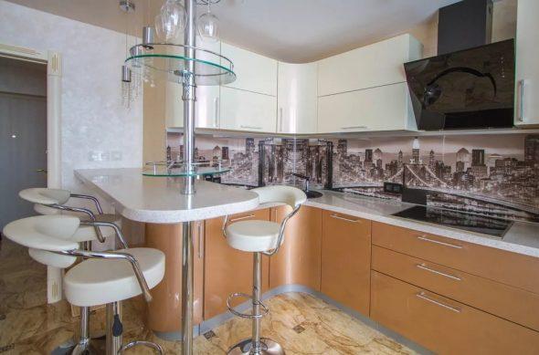 Современный дизайн кухонной барной стойки