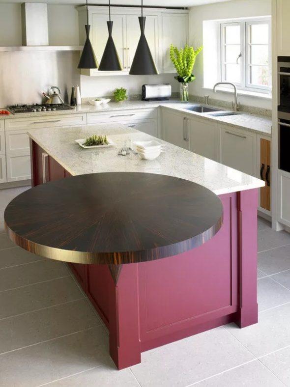 Неординарное выполнение барной стойки в малогабаритной кухне