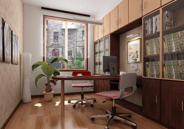 Стол на одной ножке в домашнем кабинете