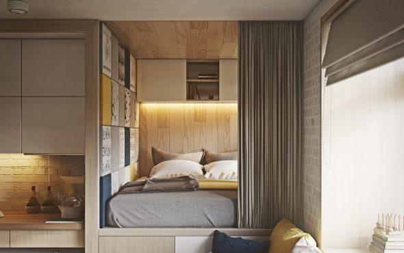 Кровать в квартире-студии