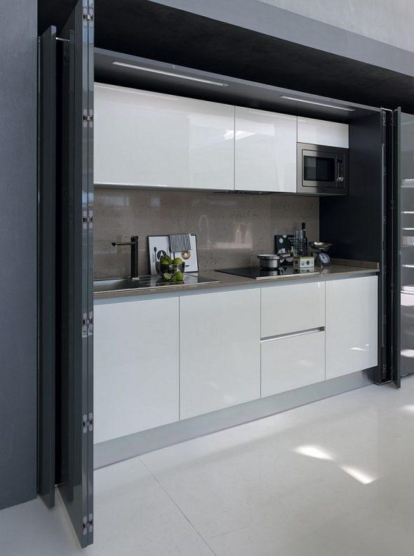 Скрытая кухня в студии