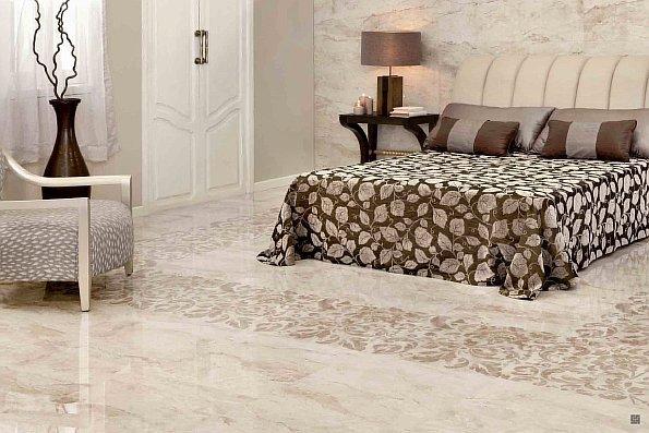 Мраморная напольная плитка в комнате