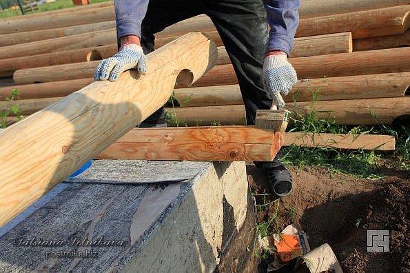 Строим сруб бани из оцилиндрованного бревна