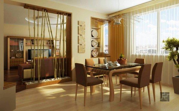 гостиная-столовая в стиле эко