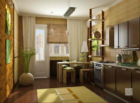 Отделка стен этой кухни выполнена из натуральных материалов