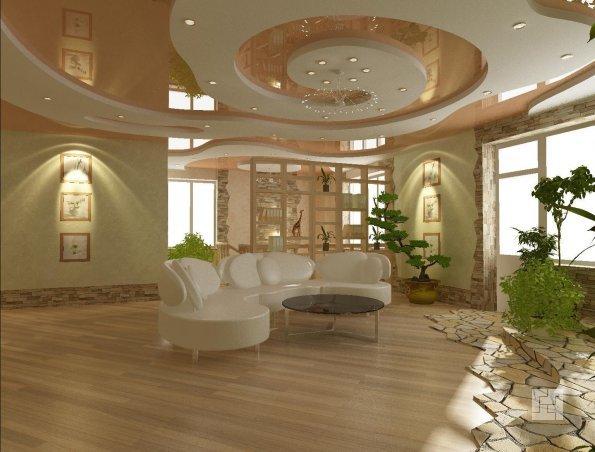 Необычный дизайн потолка, сделанного из гипсокартона