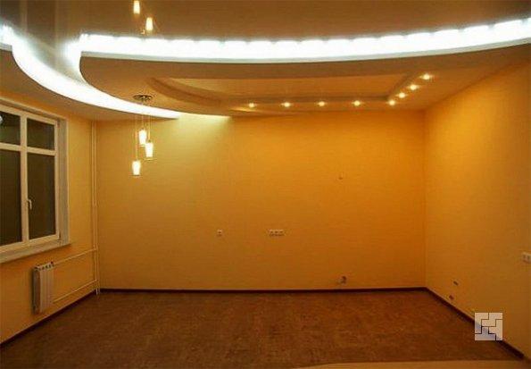 Вариант отделки подвесного потолка из гипсокартона