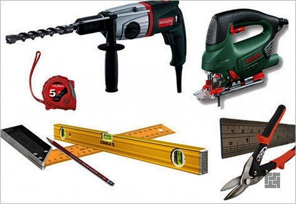 Инструменты, необходимые монтажа потолка из гипсокартона