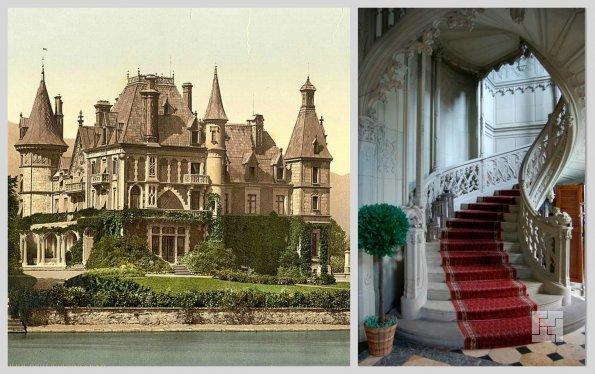 Слева - замок Шадау, снимок 1890 г., справа - лестница в интерьере замка