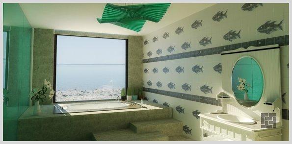 дизайн ванной комнаты - ванная в полу