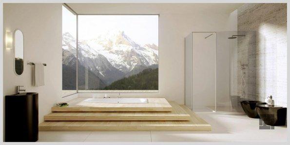 ванная в подиуме перед окном