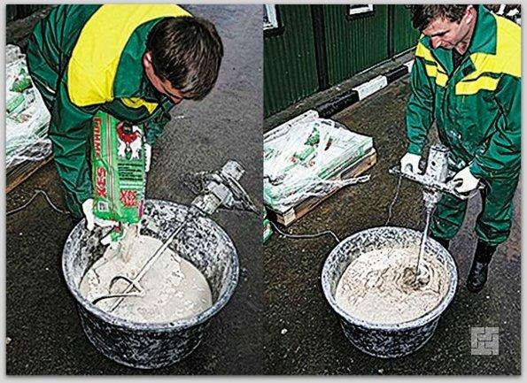 Подготовка смеси для наливных полов