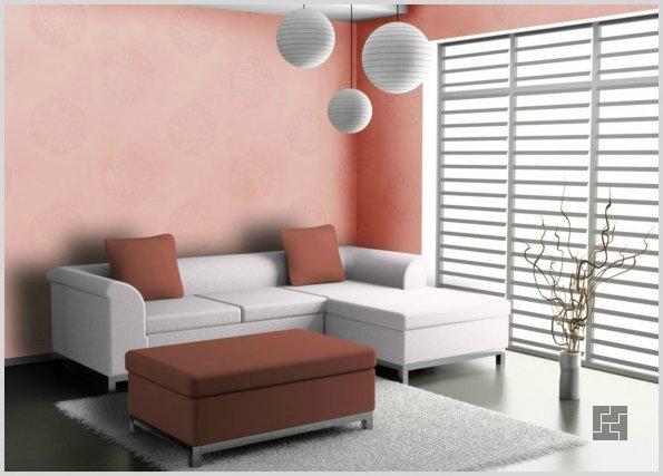 розовые стеклообои в интерьере гостиной комнаты