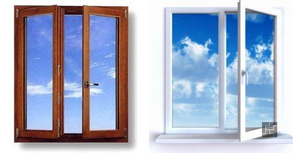 пластиковое и деревянное окно