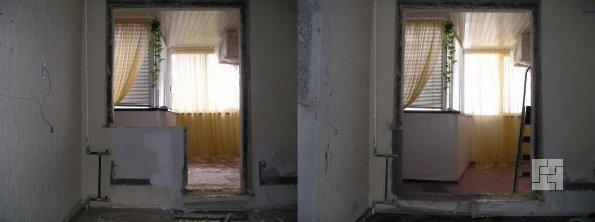 до и после демонтажа балконной перегородки