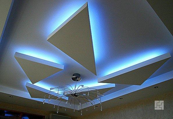 потолок из гипсокартона с неоновой подсветкой