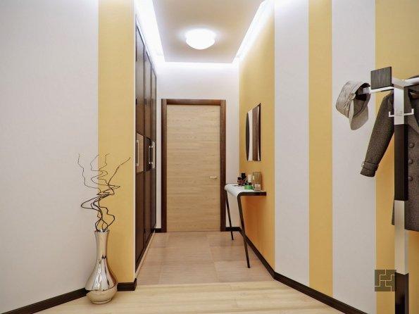 оформление стен при помощи двух теплых цветов