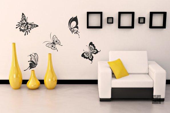 виниловые бабочки на стене