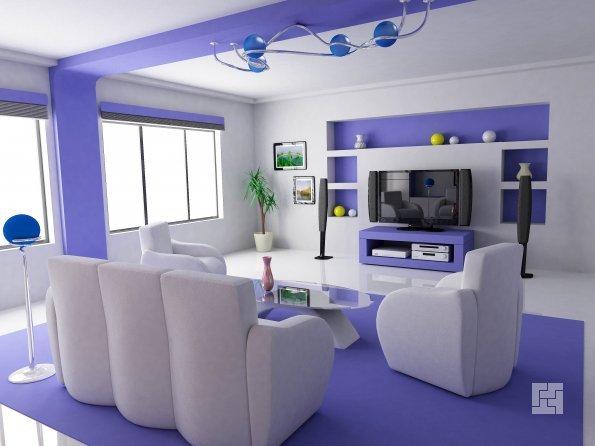 Дизайн гостиной в фиолетовых цветах