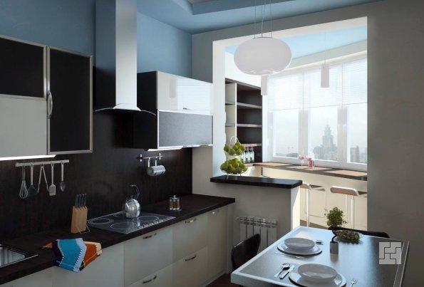 Кухня соединенная с балконом