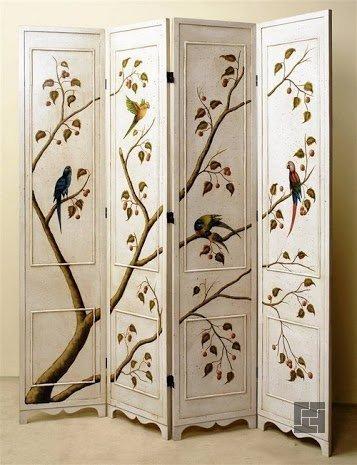 Красивая ширма с утонченной росписью - натуральность в интерьере всегда в моде