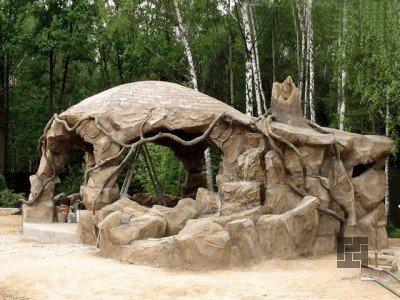 Беседка на арматурном каркасе и цементе