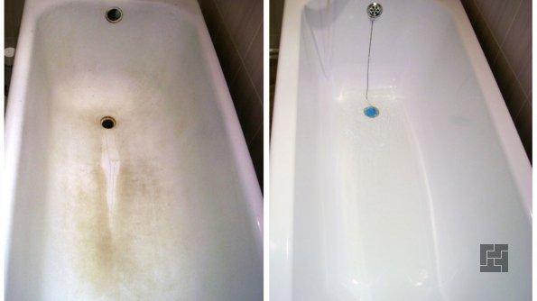 Ванна до и после реставрации