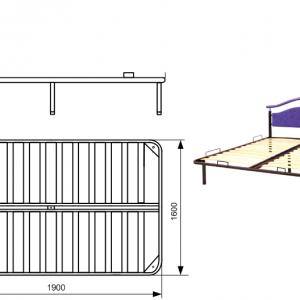 Чертёж металлического каркаса кровати