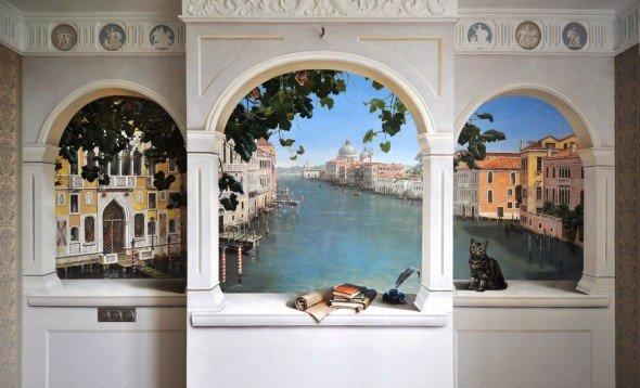 Имитация окна художественной росписью