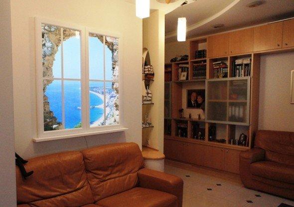 Имитация окна с помощью фотообоев