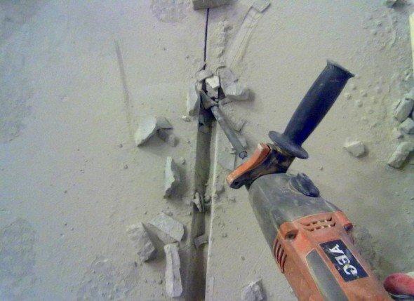 Штробление бетона