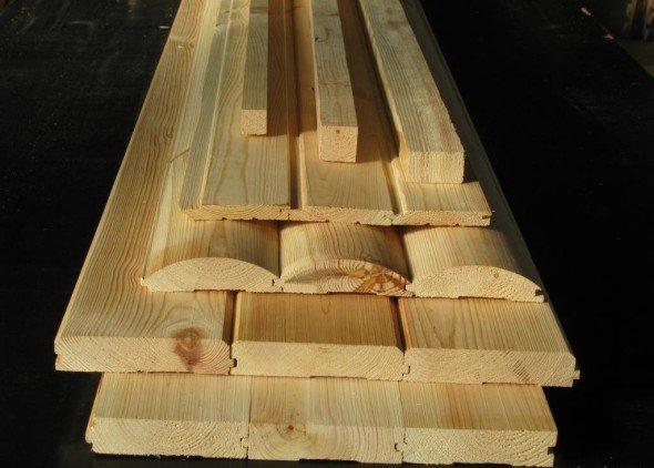Вагонка и деревянный брус для обрешётки